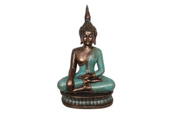New 1pce 71cm Turquoise & Gold Rulai Buddha Resin Sitting Home Decor