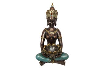 New 1pce 56cm Turquoise Buddha with Lotus Bowl Gold Glitter Resin Home Decor