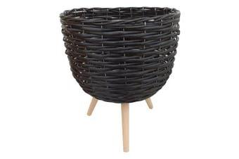 1pce 40cm Black Wicker Pot Plant Holder with Legs Cute Home Décor