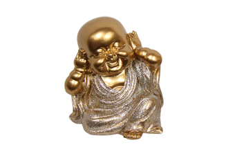1pce Hear No Evil 9cm Gold Wise Buddhas in Silver Robe Resin Cute Glitter Home Décor
