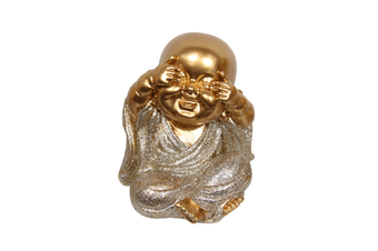 1pce See No Evil 9cm Gold Wise Buddhas in Silver Robe Resin Cute Glitter Home Décor