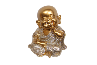 1pce Speak No Evil 9cm Gold Wise Buddhas in Silver Robe Resin Cute Glitter Home Décor