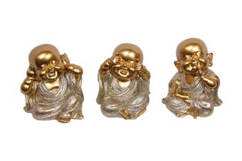 3pce 8cm Gold Wise Buddhas in Silver Robe 3 Asstd Resin Hear, See, & Speak No Evil