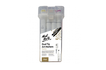 New Mont Marte Dual Tip Art Markers 12pc Alcohol Based Ink