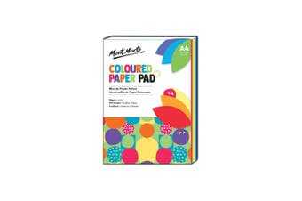 Mont Marte Coloured Paper Pad A4 with 120 Sheets 70gsm 6 Vibrant Colours
