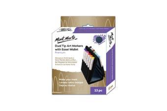 Mont Marte Premium Dual Tip Art Markers Easel Wallet 13pc