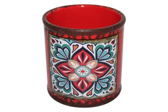 New 1pce Turkish/Urban Inspred Ceramic Flower Pot Flower Pot Round Design 10x10cmH [RED]