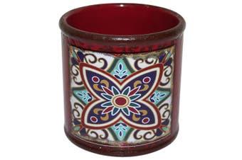 New 1pce Turkish/Urban Inspred Ceramic Flower Pot Flower Pot Round Design 10x10cmH [BURGUNDY]