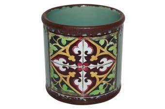 New 1pce Turkish/Urban Inspred Ceramic Flower Pot Flower Pot Round Design 10x10cmH [GREEN]