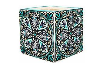 1pce X DesignSquare Moroccan Pot Aqua Trim 7.5x7.5cm Ceramic Planter Garden Décor