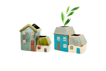 2pce Set Ceramic Pot Plant House Old Country Style Herb, Flower or Succulent Garden