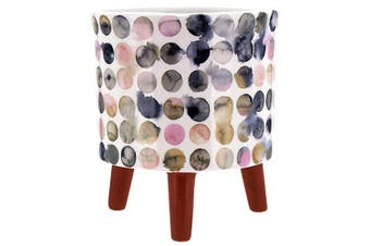 Retro Circles Ceramic Pot Round w/Legs Watercolour Design 13x15.2cmH
