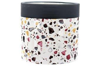 White Small Rocks Ceramic Pot Plant Planter Mosaic Terrazzo Design 10x10cmH Succulent