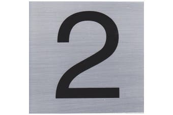HOUSE NUMBER 2 10x10cm, Brush Stainless Steel Look - S009