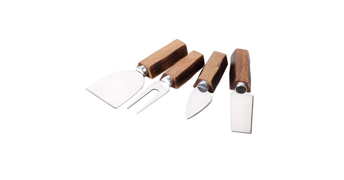 Sherwood Home 4 Piece Cheese Knife Set With Acacia Board Natural Brown Matt Blatt