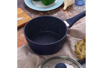 Gourmet Kitchen 2 Piece Forged Marble Coated Saucepan - Dark Blue