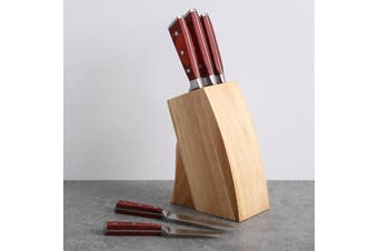 Gourmet Kitchen 5 Piece Knife With Wood Block - Brown