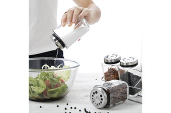 Gourmet Kitchen 4 Jars Spice Rack Set - Clear