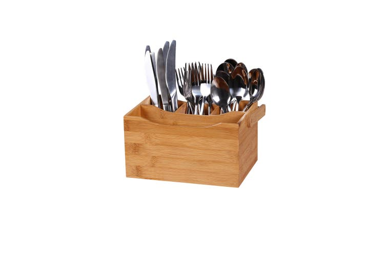Sherwood Bamboo Cutlery Caddy - Natural Brown