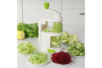 Gourmet Kitchen 500ML SPIRAL SLICER WITH SUCTION BASE - White/Green