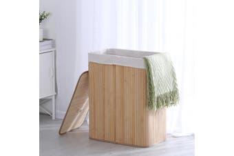 Sherwood Extra Large Rectangular Foldable Bamboo Laundry Hamper- 2 Sided - Natural Brown