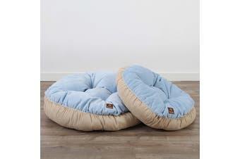 Pet Round Bed Cushion S - Light Blue/Cream