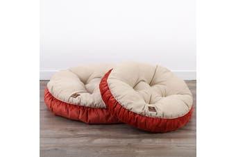 Pet Round Bed Cushion M - Cream/Orange