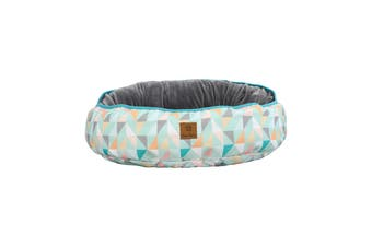 Charlie's Pet Reversible Oval Pad Bed - Green Triangle M-65 x 74 x 15cm