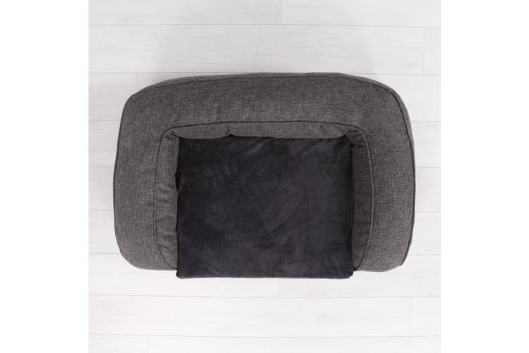 Faux Linen Pet Bolster Sofa Lounge - Dark Grey M-100 x 62 x 6+15cm