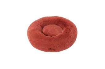 Charlie's Faux Fur Fuffy Calming Pet Bed Nest D76cmxH23cm Terracotta