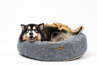 Charlie's Pet Round Bed with Faux Fur Cover Dark Grey - Large