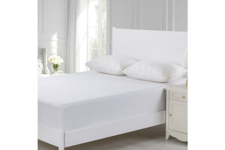 Dreamaker Cotton Terry Towelling Waterproof Mattress Protector Double Bed