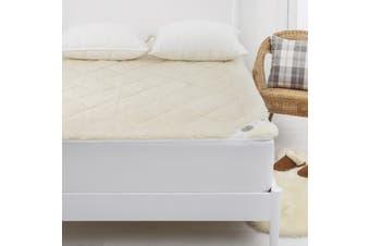 Wooltara Imperial Luxury 2 Layer Reversible Washable Australian Wool Underblanket Queen Bed