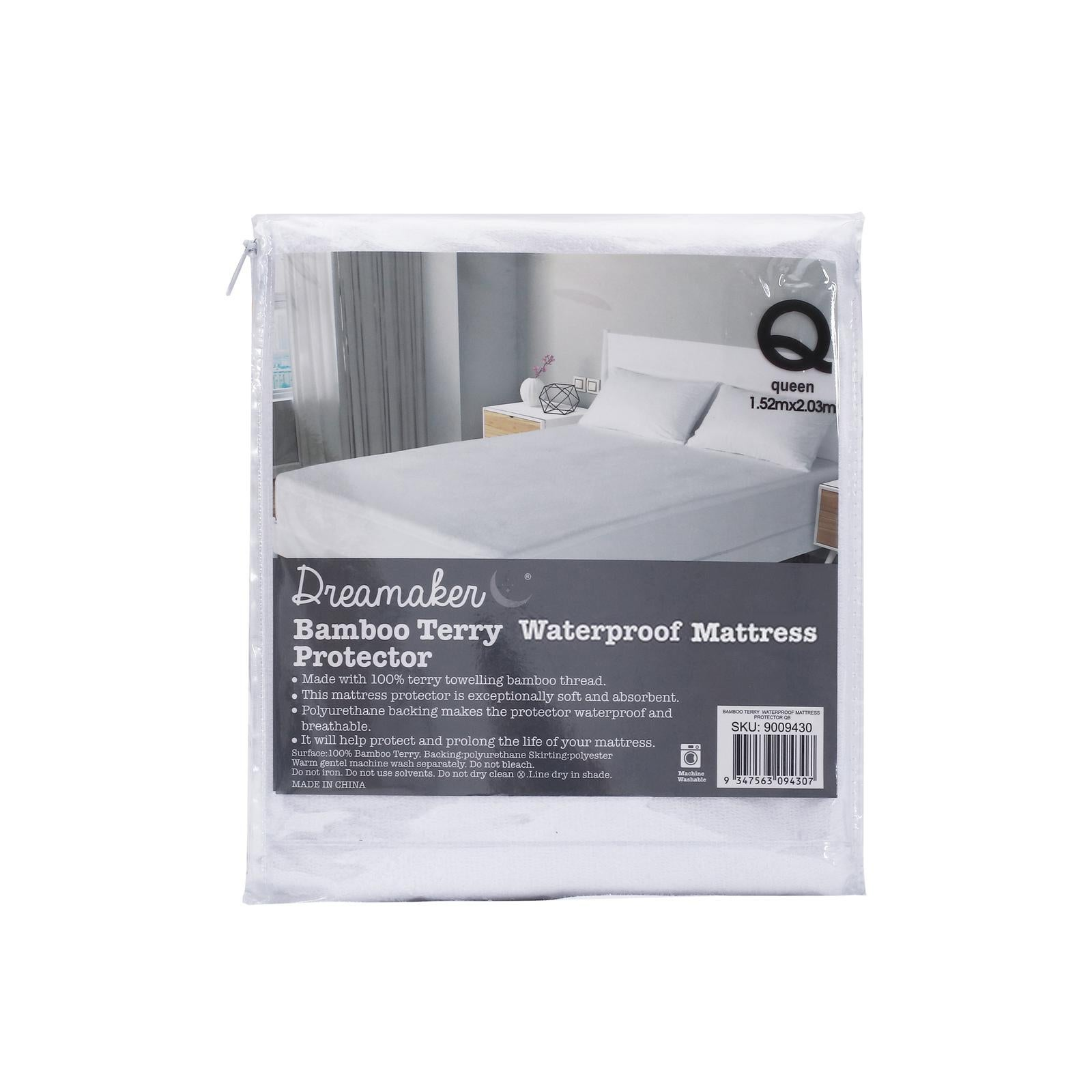 Dreamaker Bamboo Terry Waterproof Mattress Protector Queen Bed Kogan Com