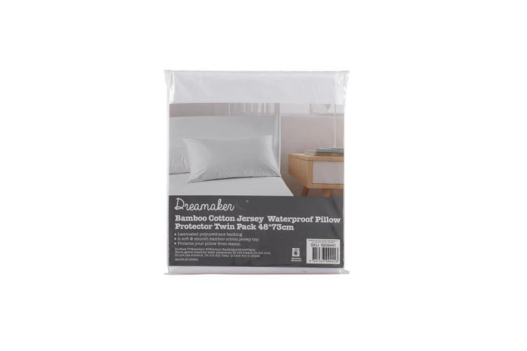 Dreamaker Bamboo Cotton Jersey Waterproof Pillow protector Twin Pack