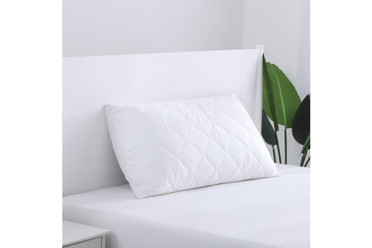 Dreamaker Cotton Cover Microfibre Filling Quilted Pillow Protector - King size