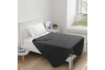 Dreamaker Cotton Jersey Quilted Blanket Charcoal