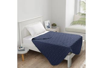 Dreamaker Cotton Jersey Quilted Blanket Navy