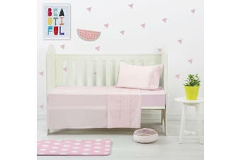 Dreamaker Baby 250 TC Egyptian Cotton Cot Sheet Set Pink