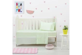 Dreamaker Baby 250 TC Egyptian Cotton Cot Sheet Set Green