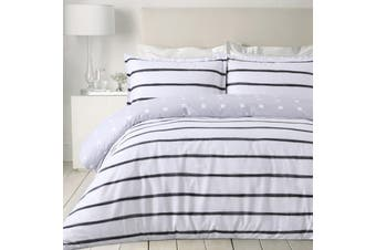 Dreamaker printed Stripes Quilt Cover Set Queen Bed