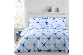 Dreamaker Shibori Printed quilt cover set King Bed Faded Crosses