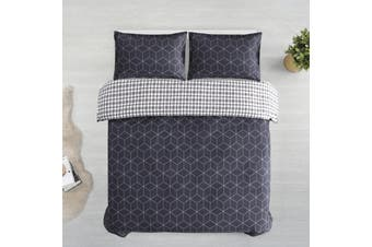 Printed Cotton Sateen Quilt Cover Set King Bed Bordeaux