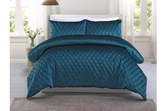 Dreamaker Quilted Midnight Turquoise Quilt Cover Set King Bed