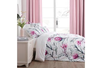 Dreamaker 300TC Cotton Sateen Printed Quilt Cover Set Pink Artichoke Flower Queen Bed