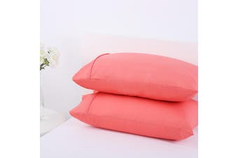 Dreamaker 250TC Plain Dyed Standard Pillowcases - Twin Pack -rose