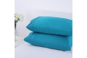 Dreamaker Cotton Sateen 300TC Plain Dyed Pillowcases - Twin Pack - Standard Capri Breeze