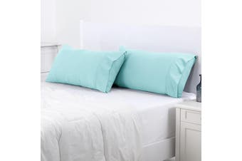 Dreamaker 250TC Plain Dyed King Size Pillowcases - Twin Pack - Canal Blue