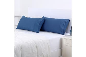 Dreamaker 250TC Plain Dyed King Size Pillowcases - Twin Pack - Blue