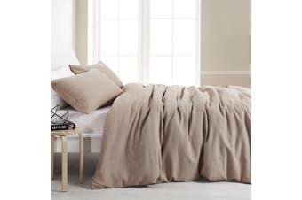 Dreamaker Amber Waffle Quilt Cover Set King Bed Latte